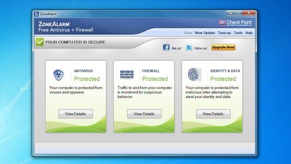 Schermata di Zone Alarm Free Antivirus + Firewall