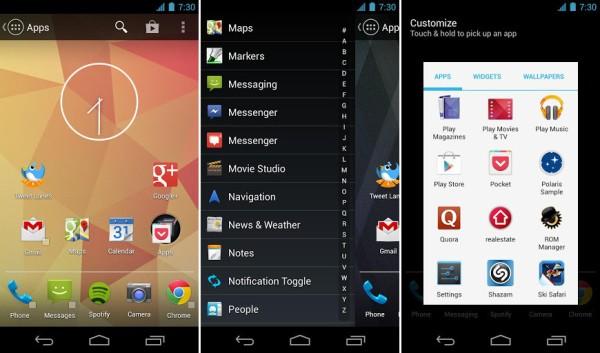 Schermata dell'applicazione Action Launcher Pro per Android