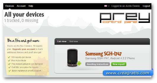 Interfaccia del sito dell'applicazione Prey per Android