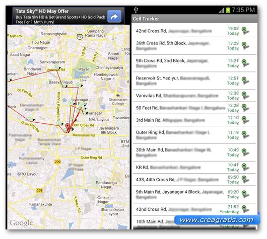 Schermata dell'applicazione Cell Tracker per Android