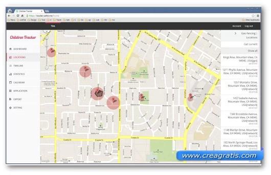 Schermata dell'applicazione Children Tracker per Android
