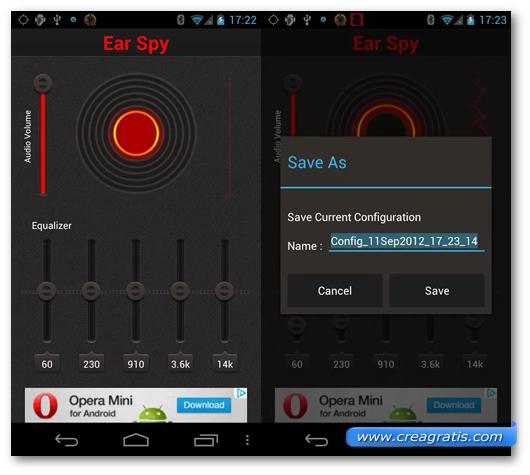 Schermata dell'applicazione Ear Spy per Android