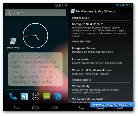 Schermata dell'applicazione Mobile Hidden Camera per Android