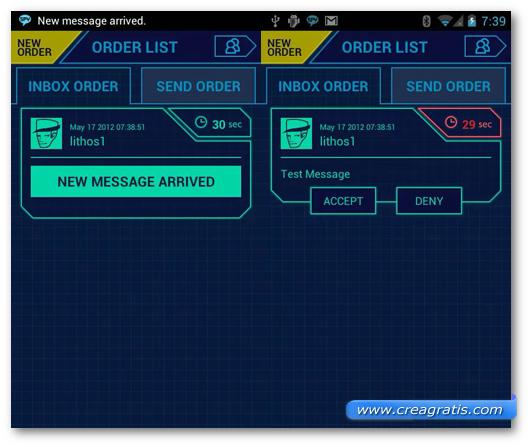 Schermata dell'applicazione Spy Message per Android