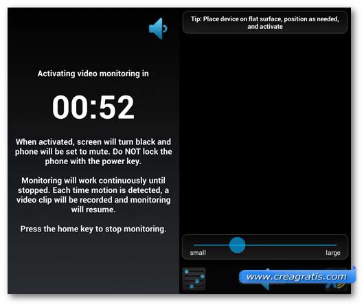 Schermata dell'applicazione Spy Video Recorder per Android