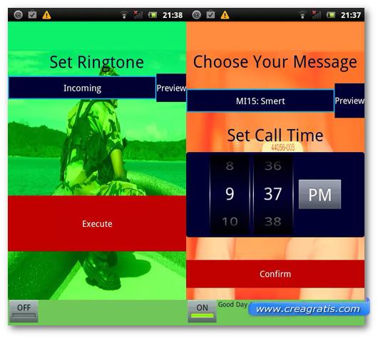 Schermata dell'applicazione Secret Agent Fake Call per Android