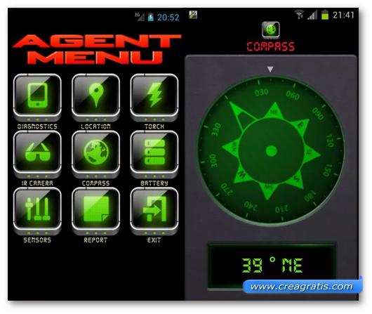 Schermata dell'applicazione Secret Agent per Android