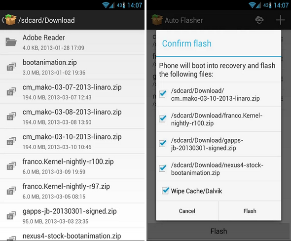 Schermata dell'applicazione Auto Flasher per Android