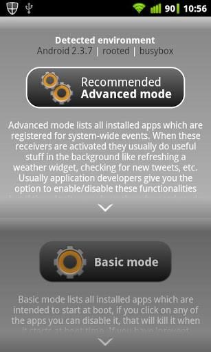 Schermata dell'applicazione Autorun Manager per Android