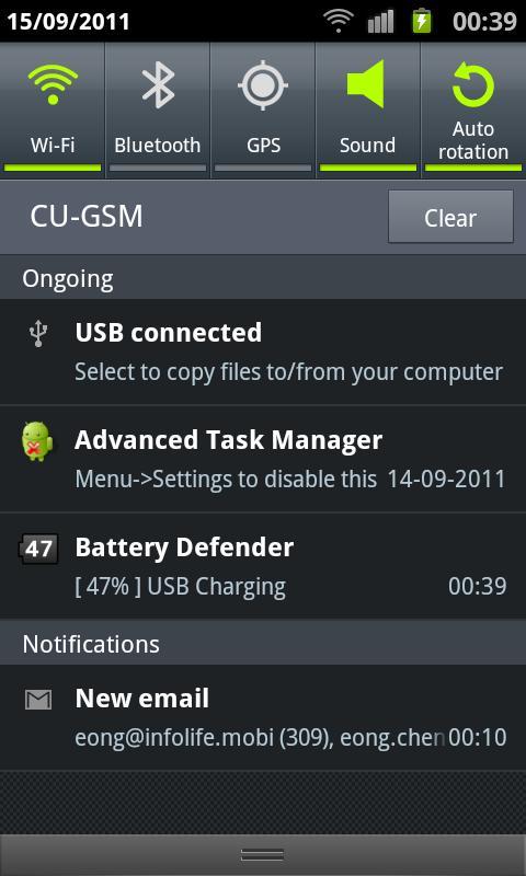 Schermata dell'applicazione Battery Defender per Android