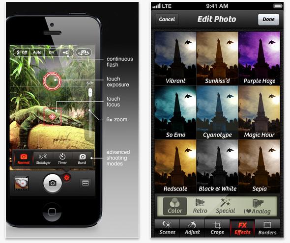 Schermata dell'applicazione Camera+ per iOS