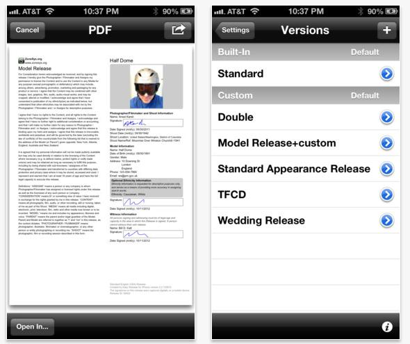 Schermata dell'applicazione Easy Release per iOS