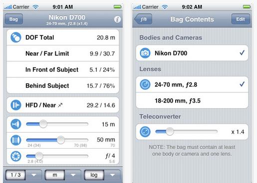 Schermata dell'applicazione f/8 DoF Calculator per iOS
