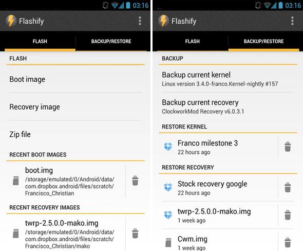 Schermata dell'applicazione Flashify per Android