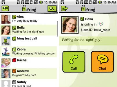 Schermata di Fring per Android