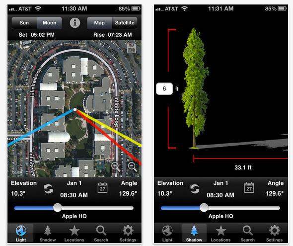 Schermata dell'applicazione LightTrac per iOS