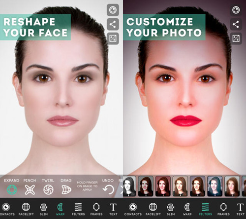 Schermata dell'applicazione ModiFace Photo Editor per iPhone