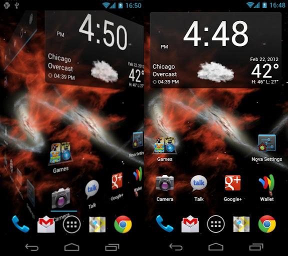 Schermata dell'applicazione Nova Launcher per Android