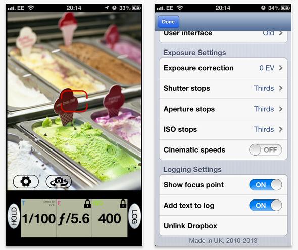 Schermata dell'applicazione Pocket Light Meter per iOS