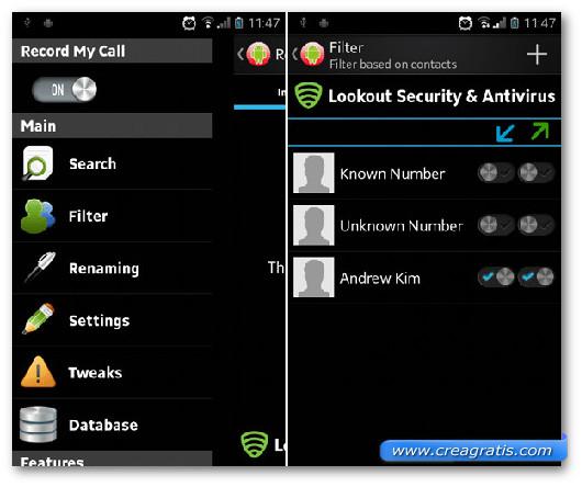 Schermata dell'applicazione Record My Call per Android