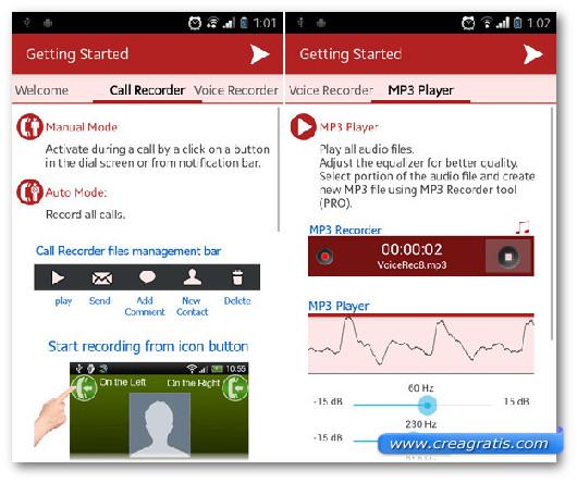 Schermata dell'applicazione InCall Recorder per Android