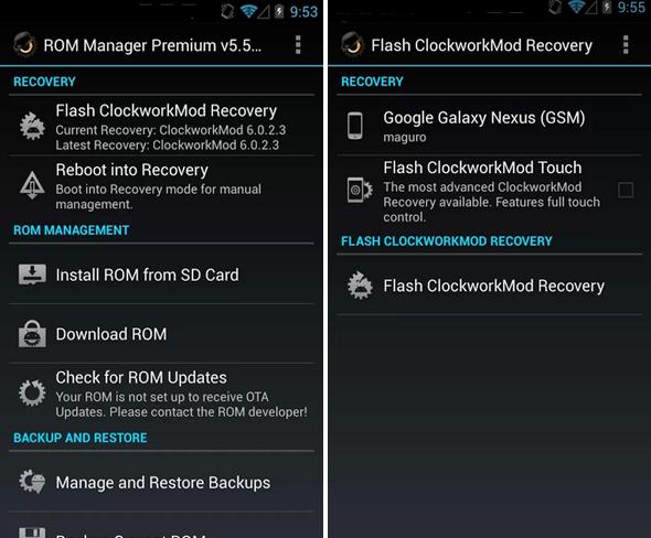Schermata dell'applicazione ROM Manager per Android