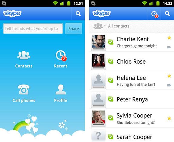 Schermata di Skype per Android