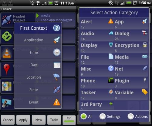 Schermata dell'applicazione Tasker per Android