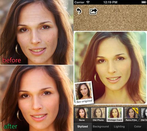 Schermata dell'applicazione Visage Lab per Android e iPhone