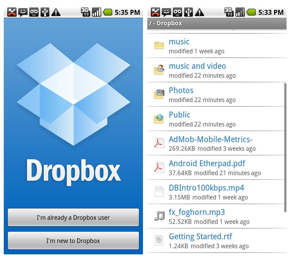 Schermata dell'applicazione Dropbox per Android