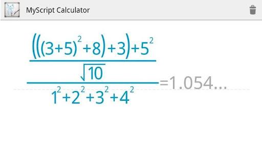 Schermata dell'applicazione MyScript Calculator per Android
