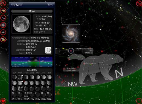 Schermata dell'applicazione GoSkyWatch Planetarium per iOS