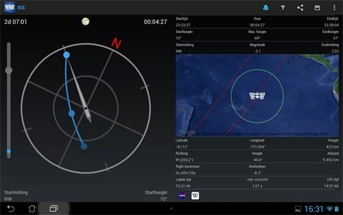 Schermata dell'applicazione ISS Detector per Android