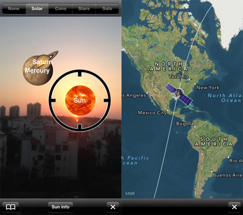 Schermata dell'applicazione Star & Planet Finder per iOS