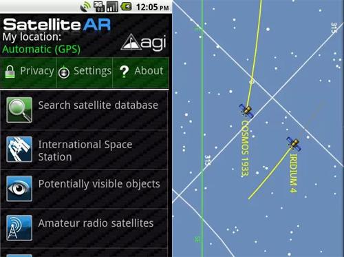 Schermata dell'applicazione Satellite Augmented Reality per Android