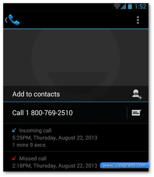 Schermata della lista delle telefonate su Android