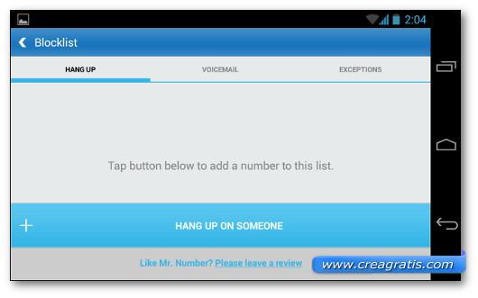 Schermata di un'applicazione generica per bloccare le telefonate