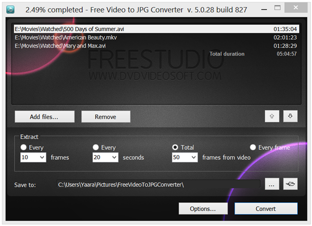 Interfaccia grafica del programma Free Video to JPG Converter