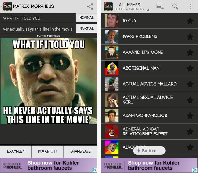 Schermata dell'applicazione Meme Generator Free per Android