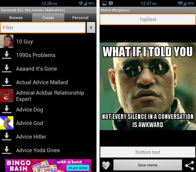 Schermata dell'applicaizone GATM Meme Generator per Android