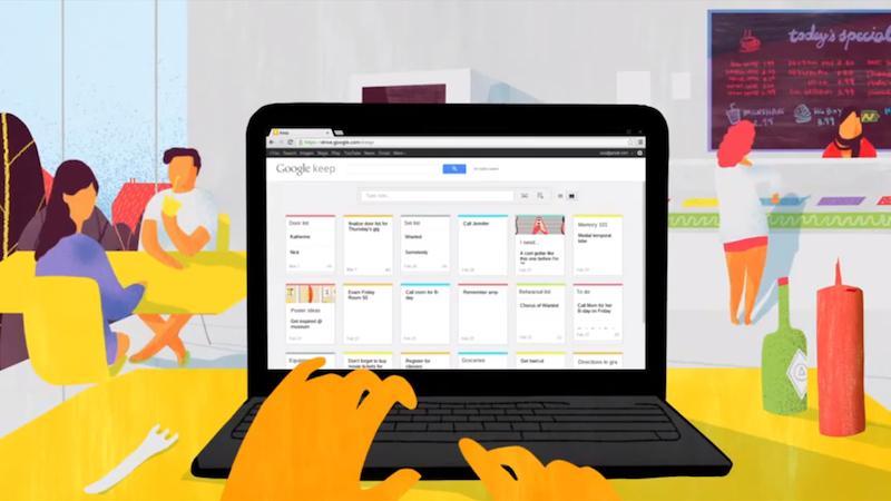 Schermata dell'applicazione Google Keep per Android