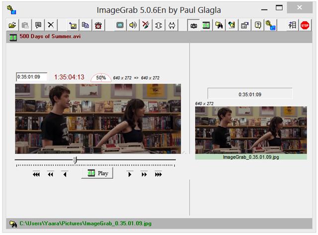 Interfaccia grafica del programma ImageGrab