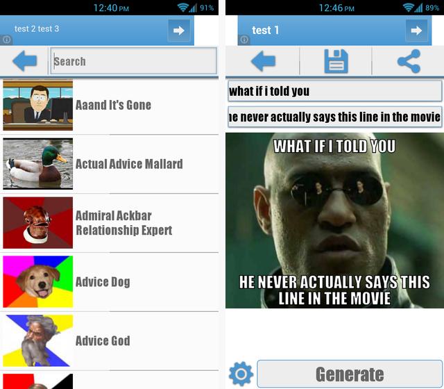 Schermata dell'applicazione Meme Me per Android