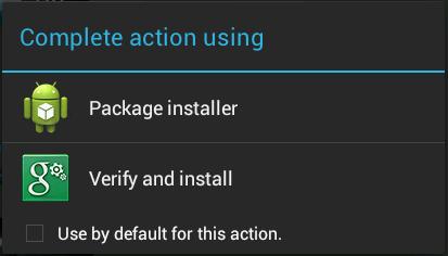Schermata in cui scegliere di aprire il file apk con Package Installer