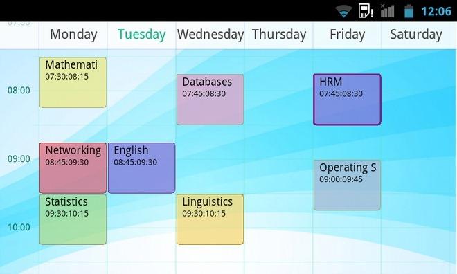 Schermata dell'applicazione Timetable per Android