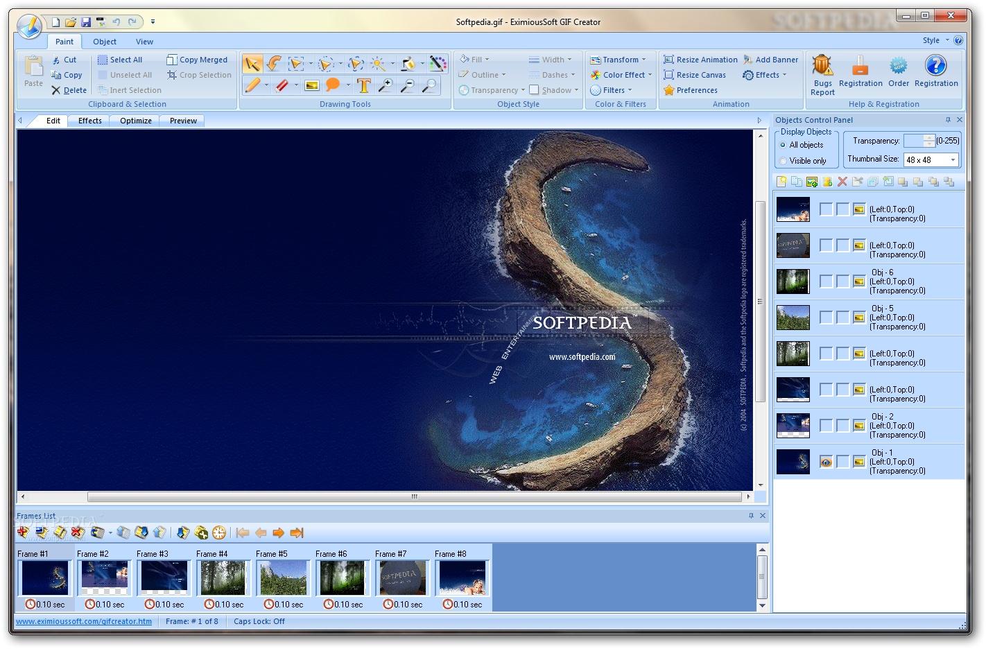 Interfaccia grafica del programma EximiousSoft GIF Creator