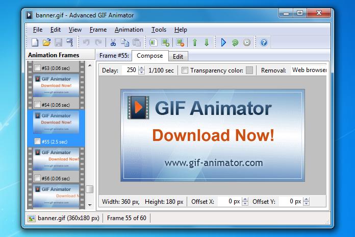 Interfaccia grafica del programma Advanced GIF Animator