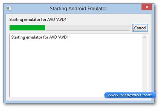 Schermata di inizializzazione dell'emulatore Android
