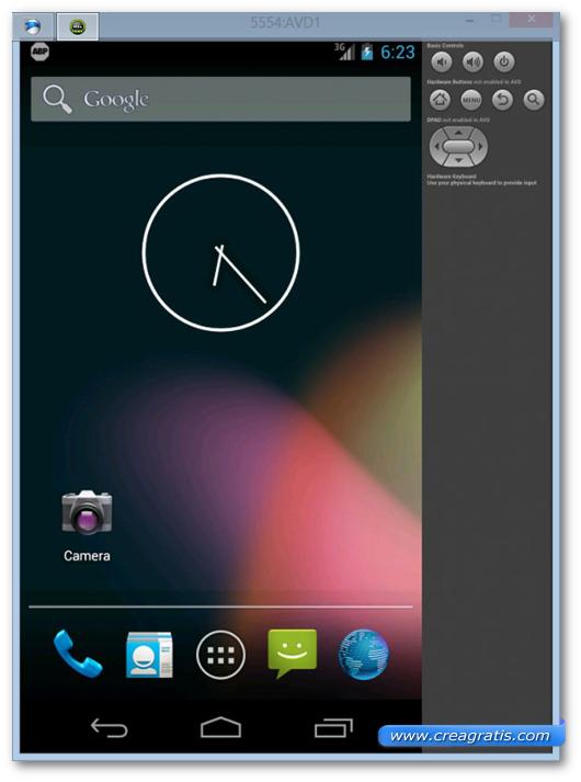 Schermata di Android utilizzato su Windows