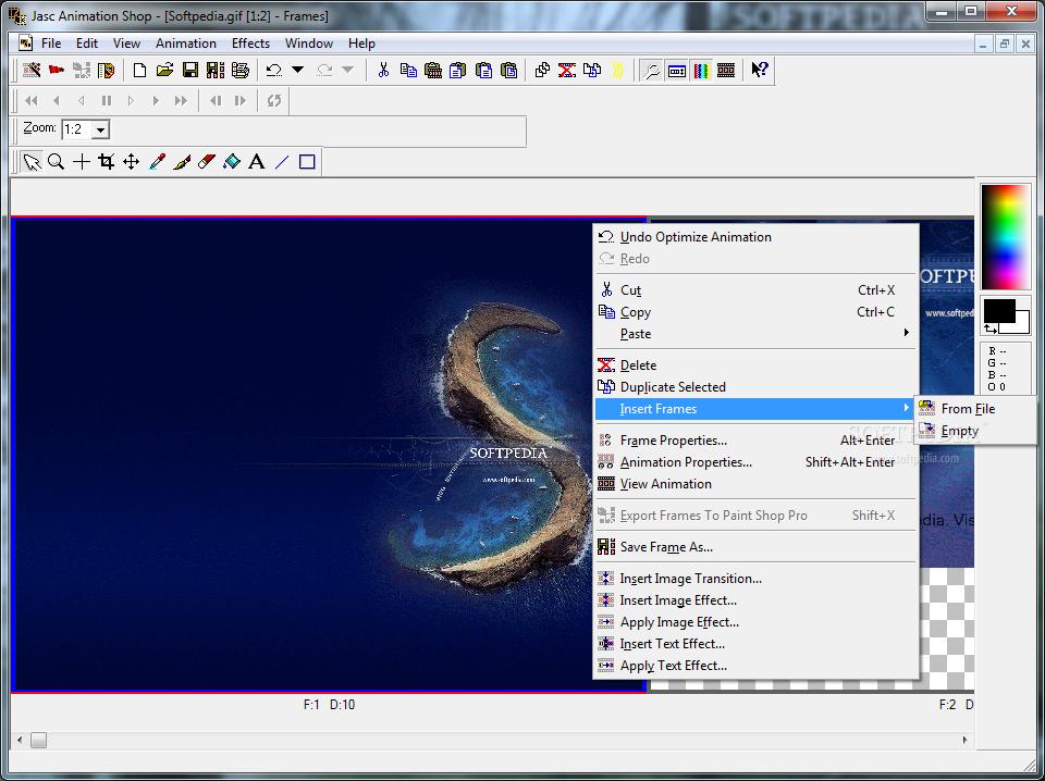 Interfaccia grafica del programma Animation Shop 3